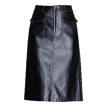 XSQR Otoño e Invierno Negro Sexy Falda de Cuero Hembra Falda de PU ...