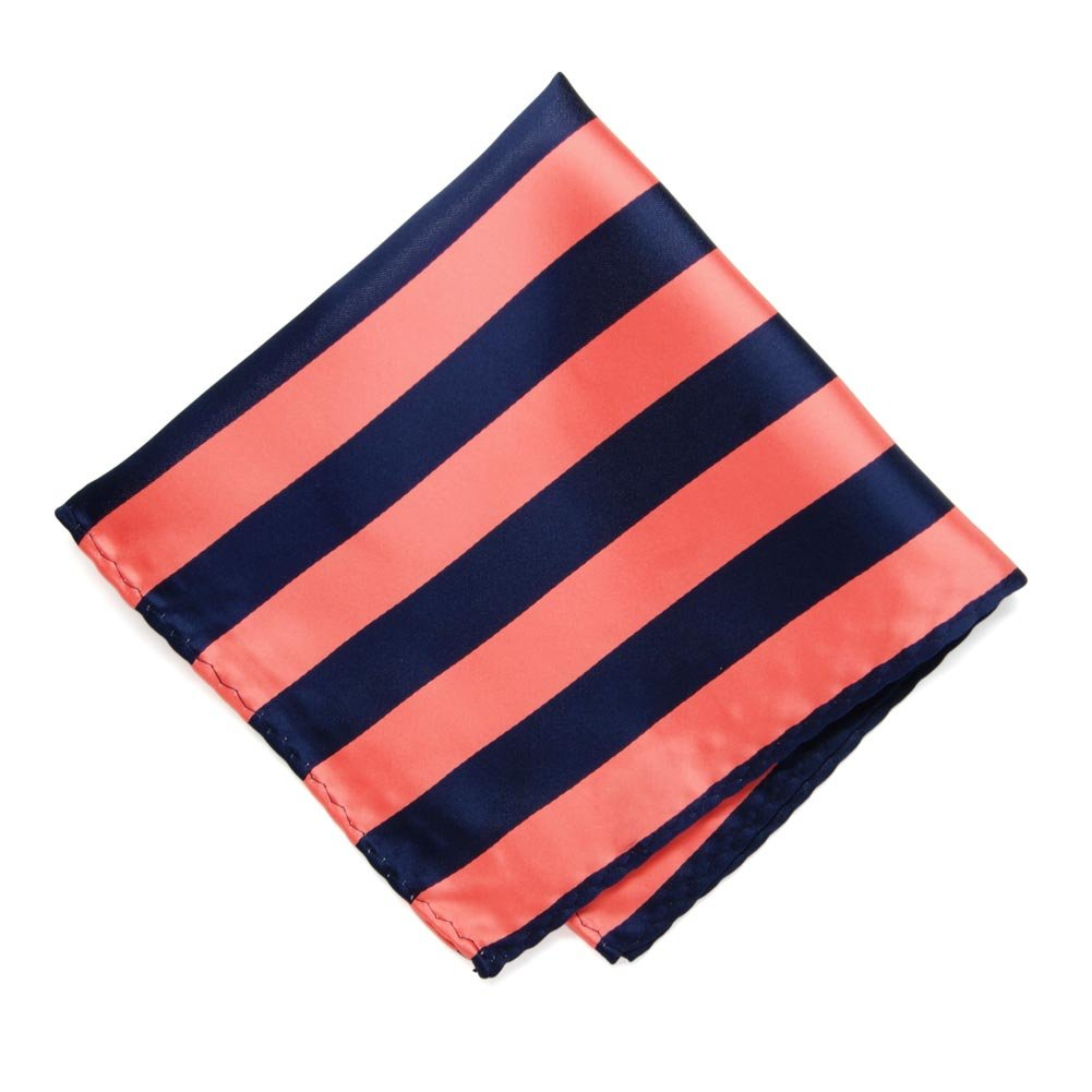 TieMart Bright Coral and Navy Blue Striped Pocket Square IS12PP-1416