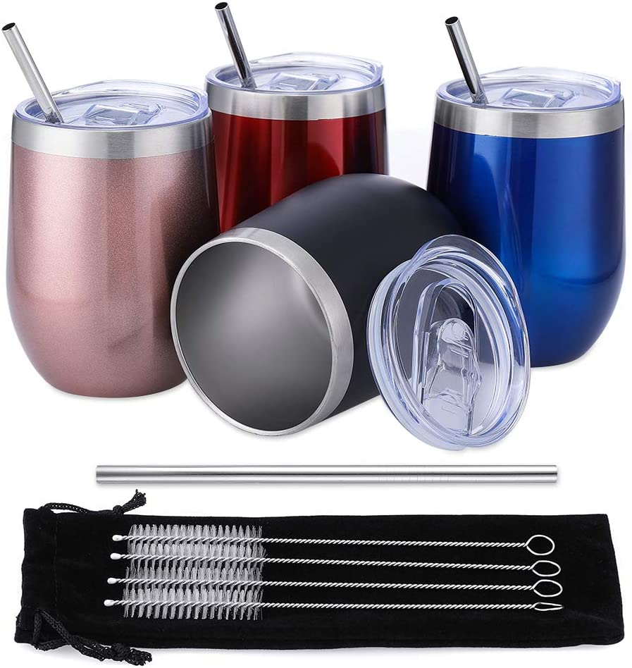 Comfook 4 Pack 12OZ Stainless Steel Wine Tumbler, Stemless vacuum Insulated Wine Glasses with Straws Set and Spill Proof Lid for Parties, Bars,Home, Work, Travel, Fashion,Light