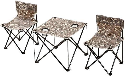 Lcxligang Juego de sillas y mesas Plegables para Exteriores, 3-Pack de trípode Ligero, Silla para Acampar con Respaldo, Mochila 1 Mesa 2 sillas: Amazon.es: Jardín
