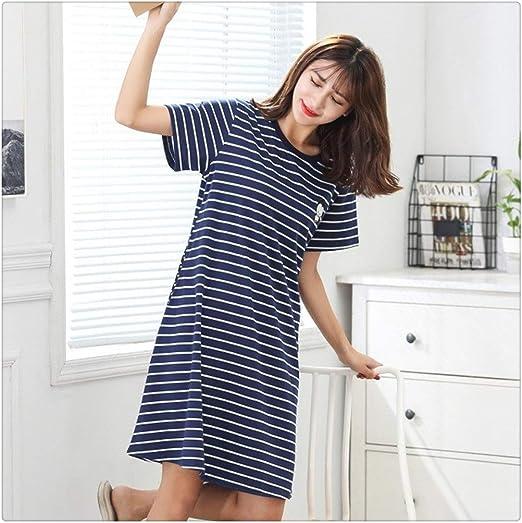 JINSEQ Verano Algodón M-5XL Ropa de Dormir Mujeres Camisón Mujeres Algodón Dibujos Animados Damas Camisón Ropa de Dormir Sexy Tallas Grandes Vestido de Dormir en casa (Color : 8816, Size : XL):