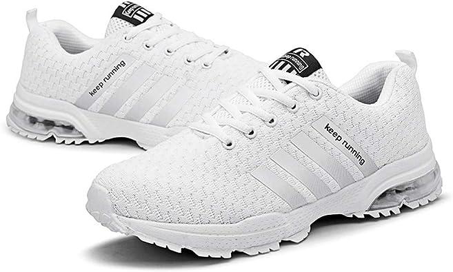 BaojunHT® Zapatillas de Malla Ligera Unisex para Gimnasio, Deportes, Caminatas, Correr, con Cordones, de caña Baja, para Mujer y Hombre, Color Blanco, Talla 38 EU: Amazon.es: Zapatos y complementos