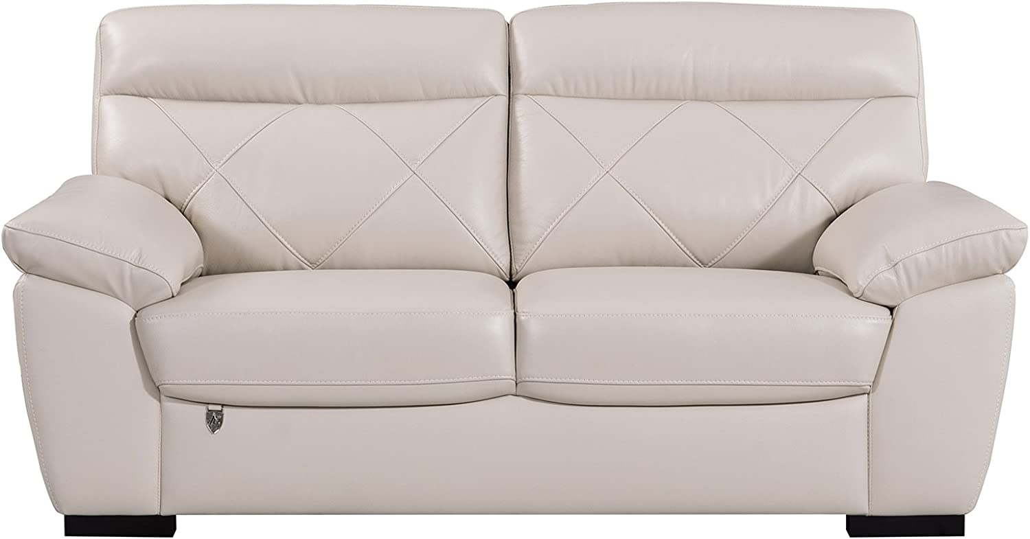 """American Eagle Furniture Modern Contemporary Italian Leather Upholstered Living Room Loveseat, 72"""", Light Gray"""