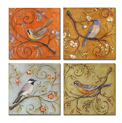 SpecialArt – Series Paintings Wall Art – Colorful Birds on Curly Branches painting – 4 Panels Picture Print on Canvas for Modern Home Decor