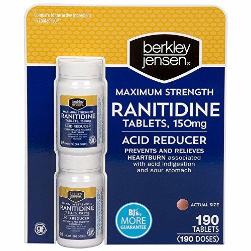 Berkley Jensen 150mg Ranitidine Tablets, 2 pk./95 ct. (pack of 6) by Berkley and Jensen