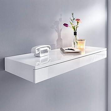 Pureday Wandkonsole Esther Wandregal Mit Schublade Holz Weiß