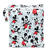 Bumkins Reusable Waterproof Wet Bag with Zipper, Disney, Mickey Mouse Classic