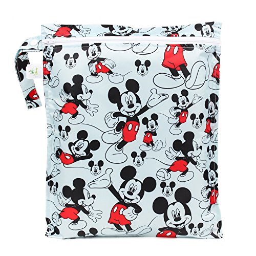 Bumkins Disney Mickey Mouse Waterproof Wet Bag, Washable, Reusable for Travel, Beach, Pool, Stroller, Diapers, Dirty Gym Clothes, Wet Swimsuits, Toiletries, Electronics, Toys, ()