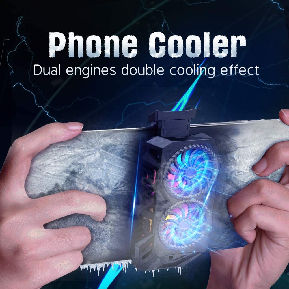 ORDA Phone Cooler Dual Engines Cell Phone Radiator Fast Cooling Cellphone Fan 2 in 1 Portable Phone Cooling Fan with Colorful Backlight - Black
