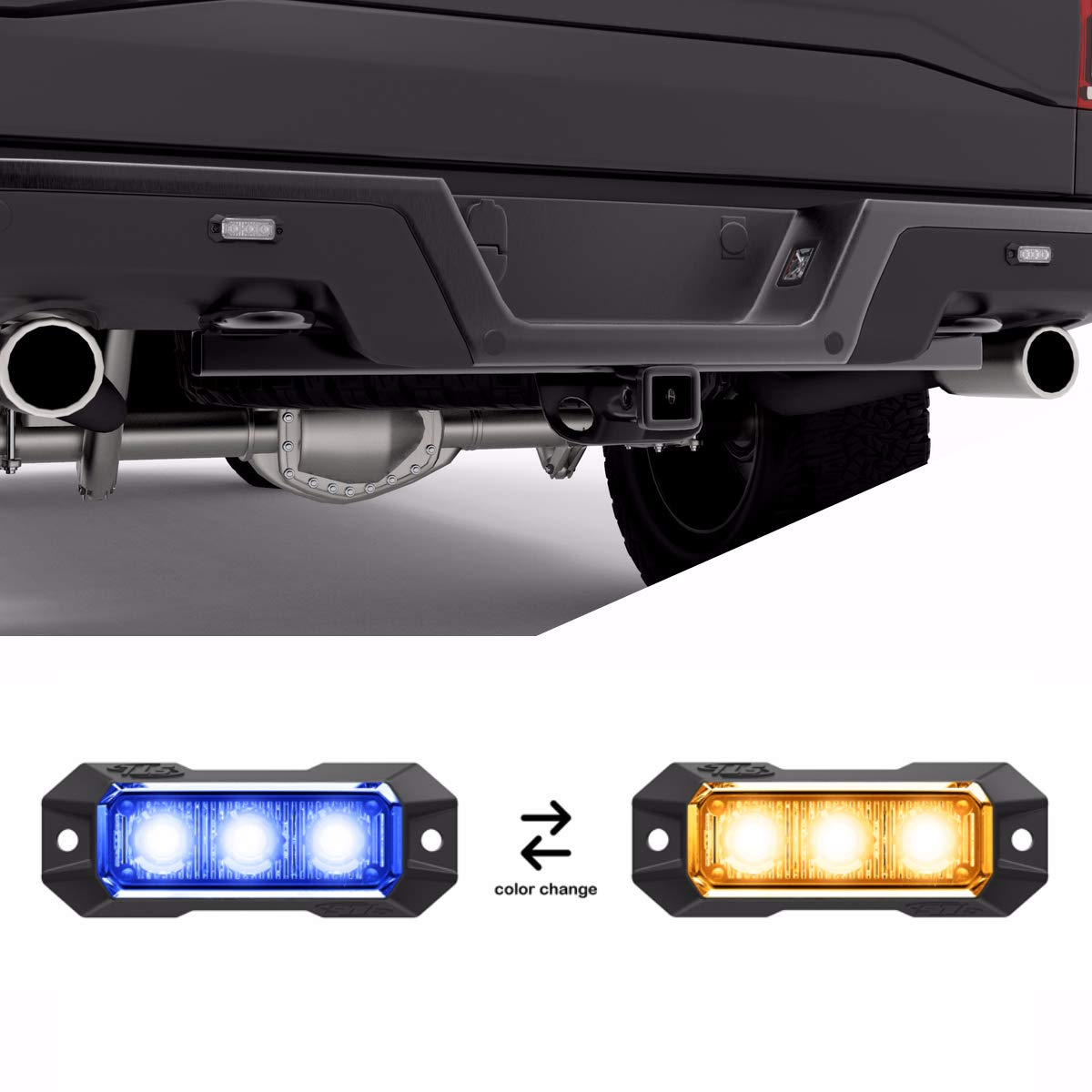 Surface Mount Grille Flashing Hazard Beacon Light Clear//Clear Plows Service Vehicles White//White Emergency Vehicles Construction Trucks SpeedTech Lights Z-3 9W LED Strobe Light for Police Cars