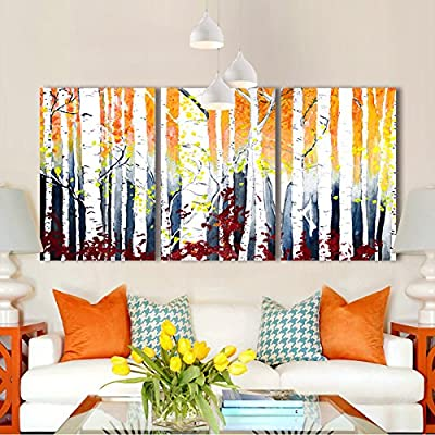 White Birch Trees Watercolor Painting Style x3 Panels, Classic Design, Lovely Handicraft