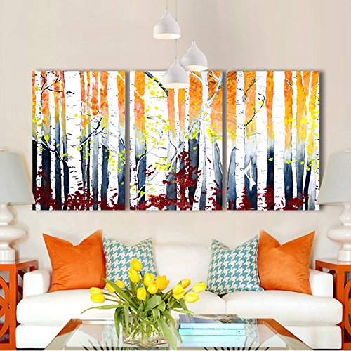 White Birch Trees Watercolor Painting Style x3 Panels