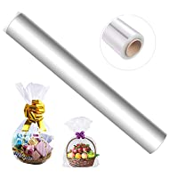 115 ft Clear Cellophane Wrap Roll (33 in x 115 ft) - Cellophane Roll - Clear Wrap Cellophane Bags - Clear Wrapping Paper to Wrap Gift Baskets - Clear Gift Wrap - Celophane Basket Wrap - Cello Wrap