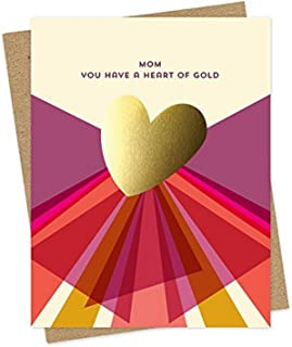 product image for Gold Heart Mom Foil-Stamped Card by Night Owl Paper Goods