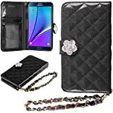 Galaxy Note 5 Case, HHI Samsung Galaxy Note 5 Quilted Purse Wallet Case BLACK with Crystal Flower Bling and Hand Strap