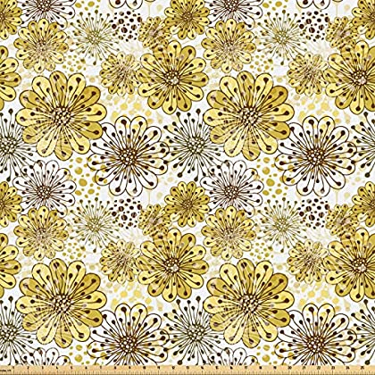 Image of Ambesonne Floral Fabric by The Yard, Blossoms Petals Modern Dots Abstract Bedding Plants Gardening, Microfiber Fabric for Arts and Crafts Textiles & Decor, 10 Yards, Khaki Brown White Home and Kitchen