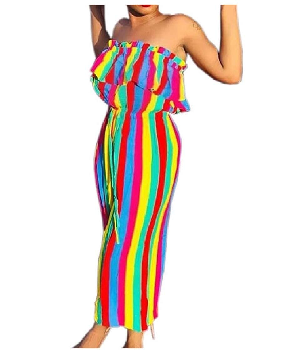 VITryst-Women Overall Fashional Wide Leg Stripes Long Pants Jumpsuits Rompers
