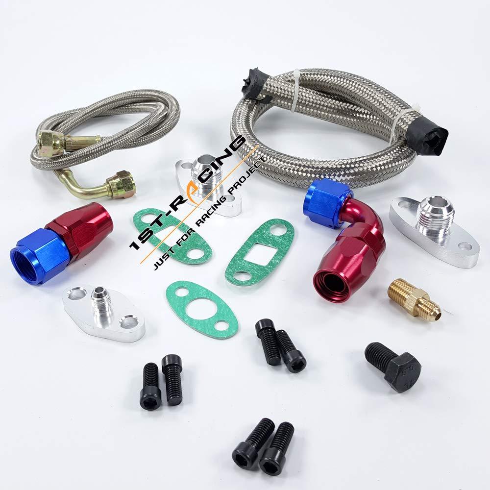 Single Turbo Oil Feed Line Kit Flange Kit for Toyota Supra 1JZGTE 2JZGTE 1JZ/2JZ Ispeedy