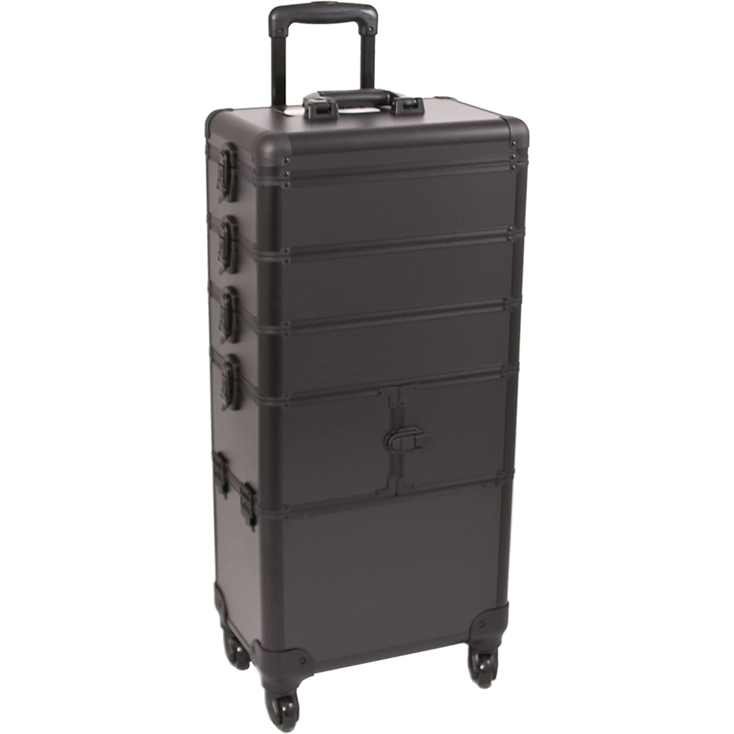 SUNRISE Makeup Rolling Case 4 in 1 Professional Organizer I3364 Aluminum, 3 Stackable Trays and Two 3 Tier Trays, 4 Wheel Spinner, Black Matte