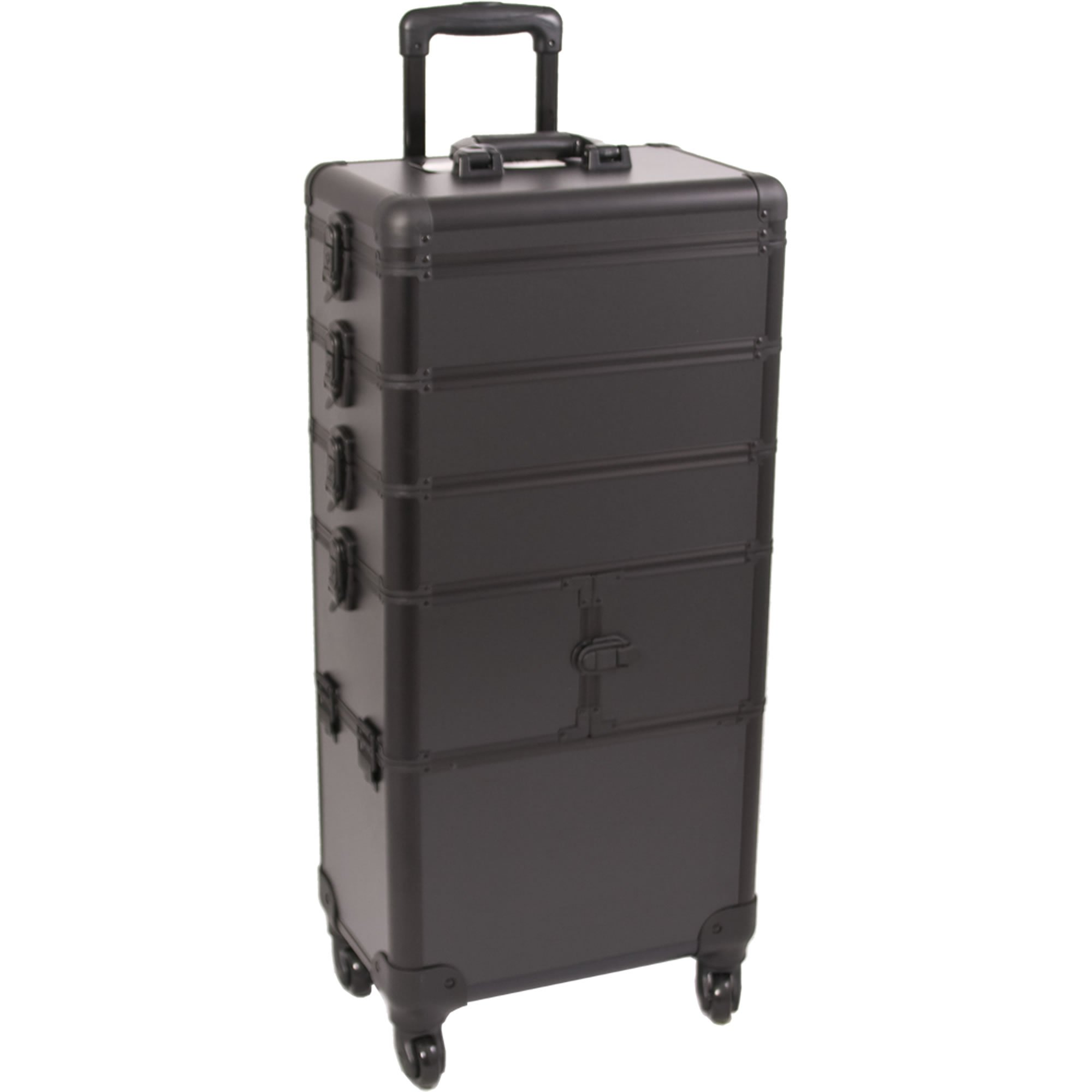 SUNRISE Makeup Rolling Case 4 in 1 Professional Organizer I3364 Aluminum, 3 Stackable Trays and Two 3 Tier Trays, 4 Wheel Spinner, Black Matte by SunRise