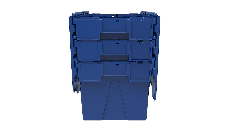 1 x de colores adjunta Lidded Caja de plástico 65 litros - rojo, azul o verde caja de plástico caja de almacenamiento contenedor bolso con Sapphire diseño ...