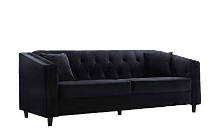Delicieux Classic Victorian Style Tufted Velvet Sofa, Living Room Couch With Tufted  Buttons (Black)
