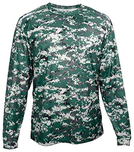 Badger BG4184 Men's Long Sleeve Sublimated Tee Forest Digital - Badger Shorts Cotton