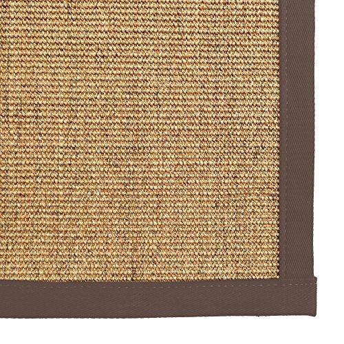 iCustomRug Natural Fiber Sisal Area Rug 4 Feet X 6 Feet (4 X 6) Custom Cotton Border Carpet in Chocolate Brown