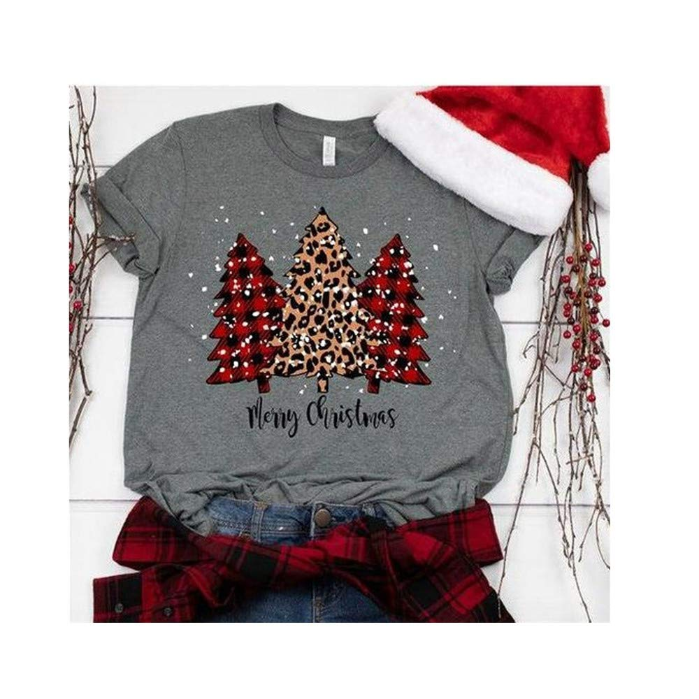 Womens Letter Merry Christmas Long Sleeve Print Round Neck Blouse Tops (L, Gray) by DRAGONHOO