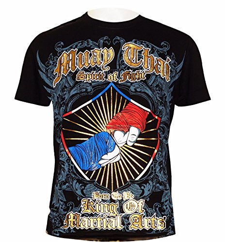 "MUAY THAI UNISEX ""SPIRIT OF FIGHT"" MUAY THAI TSHIRT – BTB-MT8038-BK -one hundred% COTTON – BLACK – DiZiSports Store"