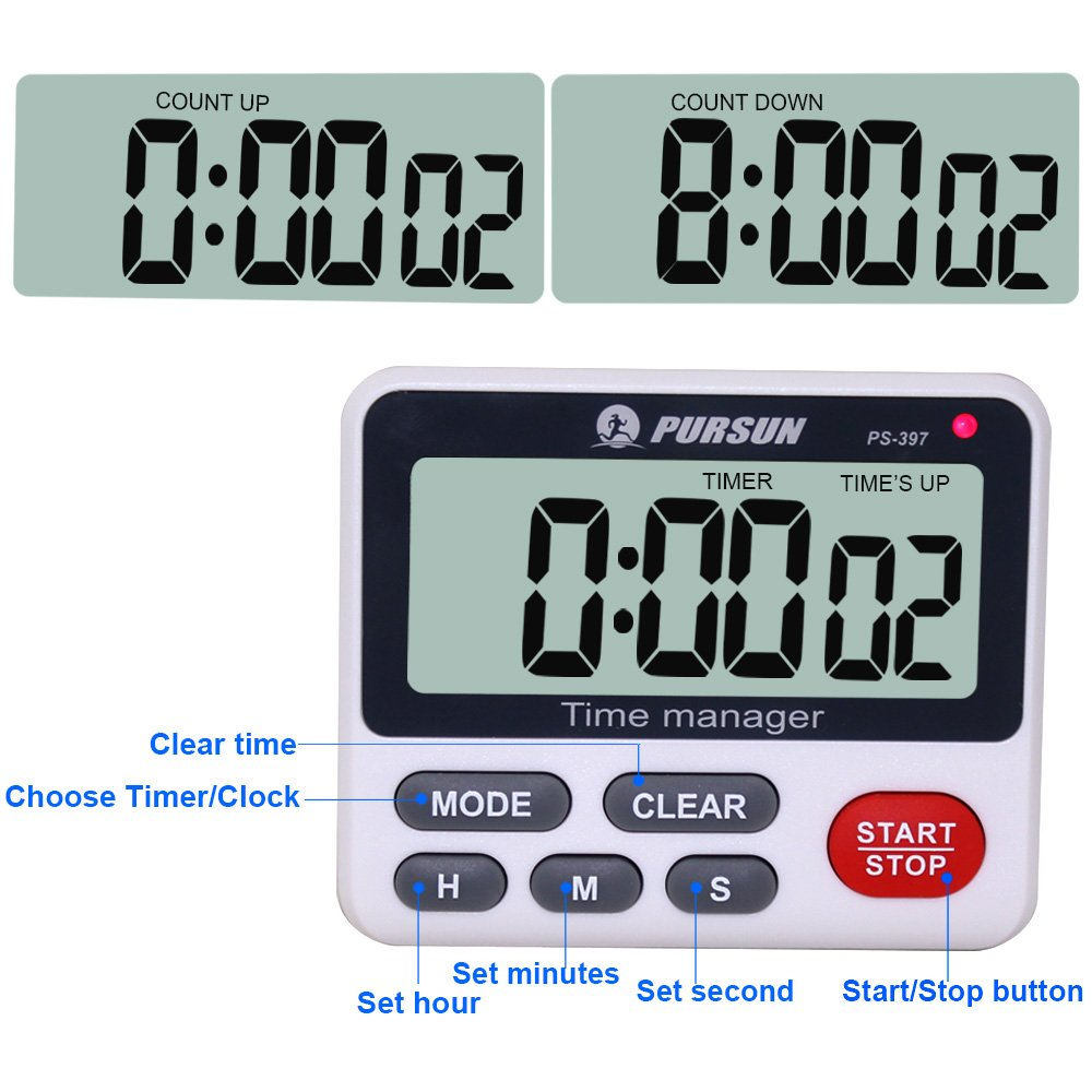 Digital Timer CEEBON 100 Hour Dual Count Down and Count up Timer ...