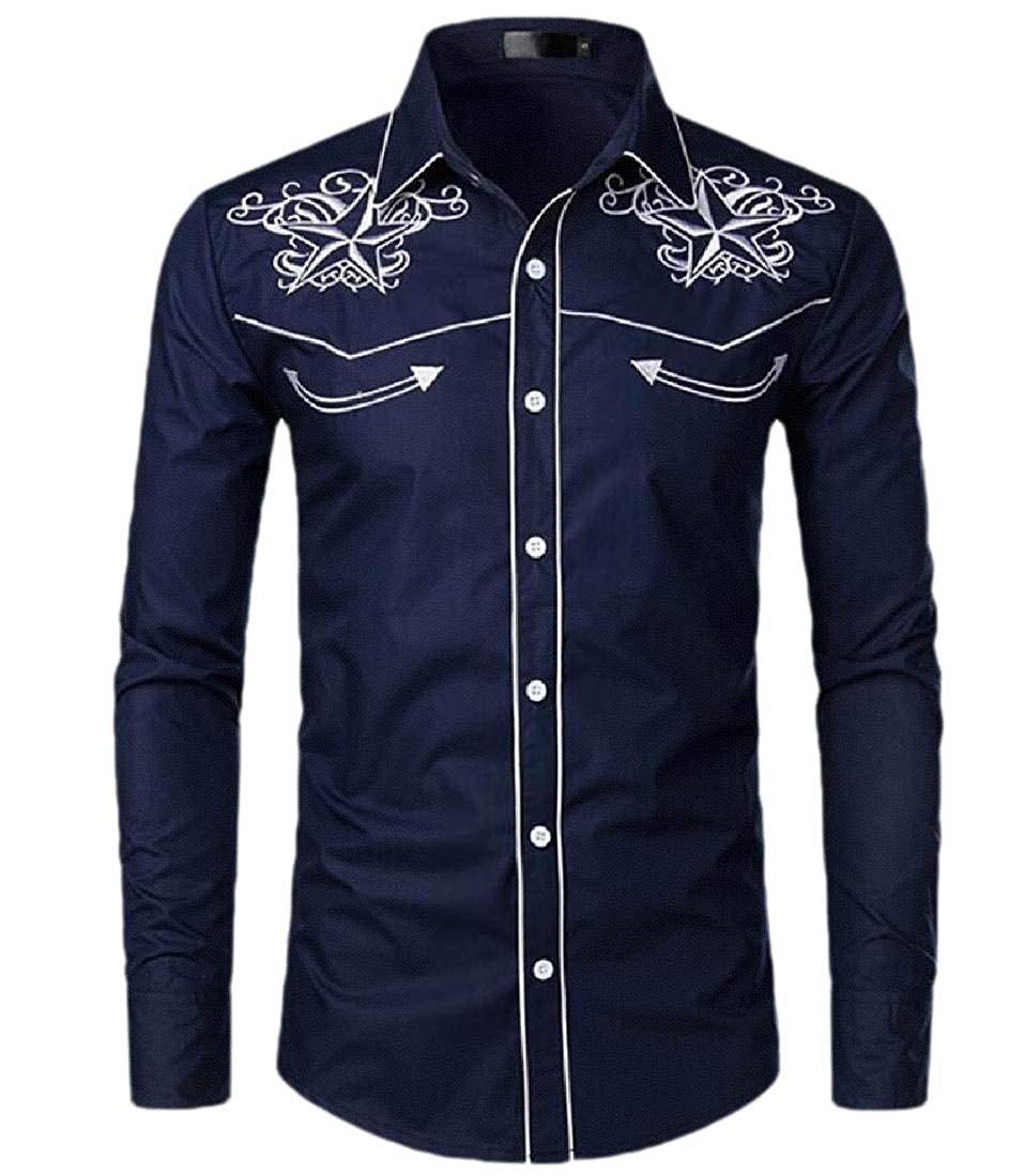 ouxiuli Mens Shirt Embroidered Western Long Sleeve Button Down Shirt
