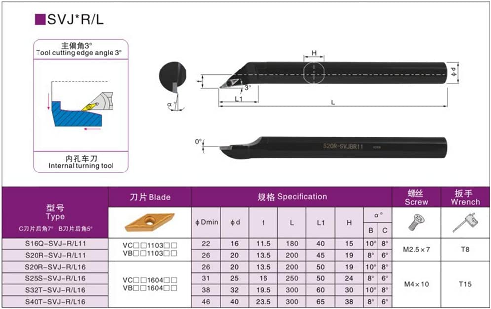 ZIYI 93/°S16Q-SVJBL11 ndex Internal Lathe Turning Holder For VBMT Inserts