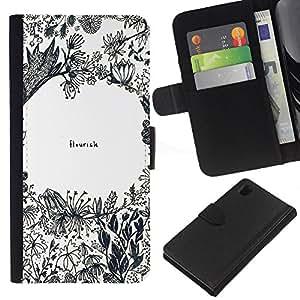 A-type (Flowers Inspirational Quote Art) Colorida Impresión Funda Cuero Monedero Caja Bolsa Cubierta Caja Piel Card Slots Para Sony Xperia Z1 L39