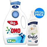 OMO Active Auto Laundry Detergent Liquid Sensitive Skin + Comfort Concentrated Fabric Softener Baby, 2 Litre + 1.5 Litre