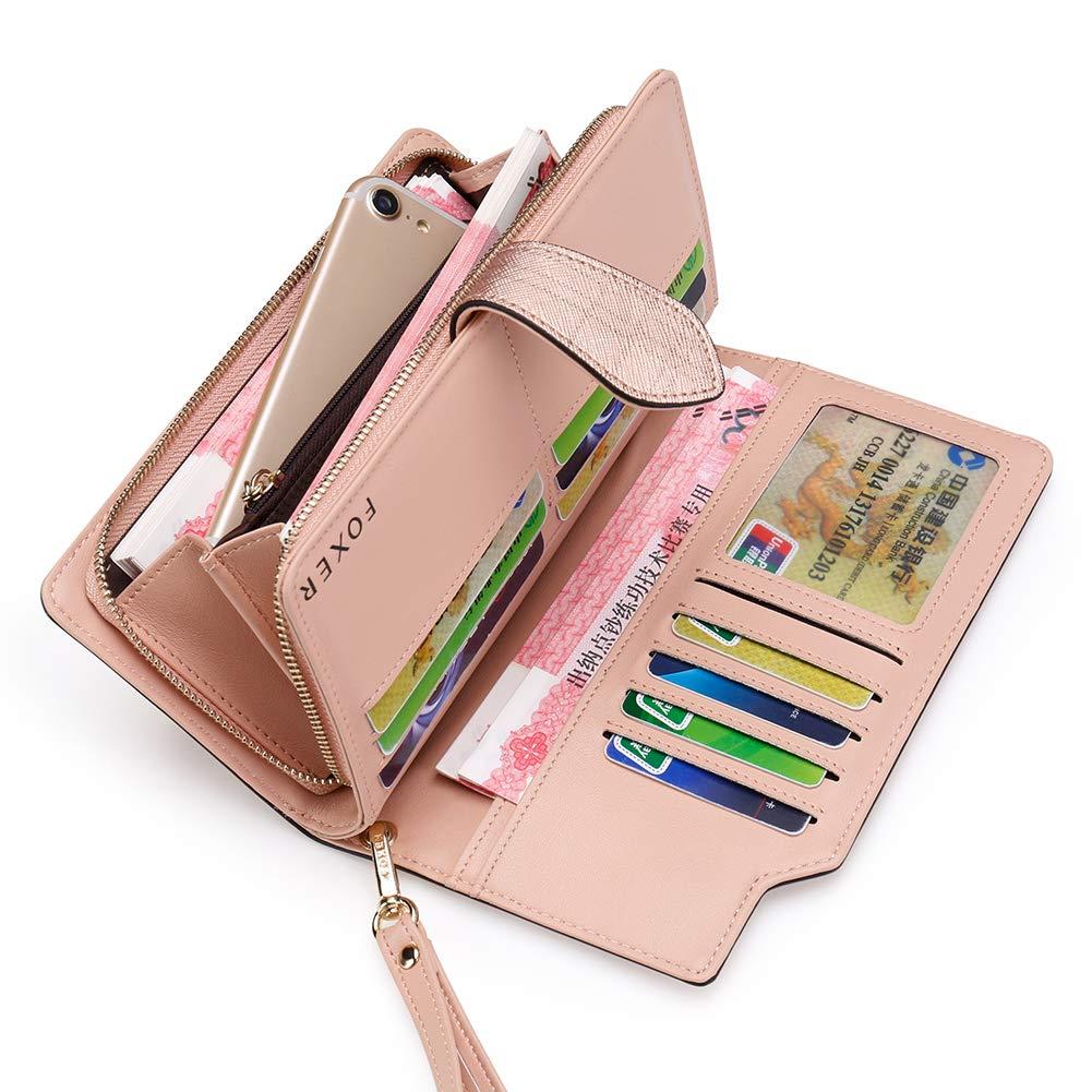 FOXER Women Leather Wallet Wristlet Wallet Bifold Clutch Wallet Zipper Wallet (black)