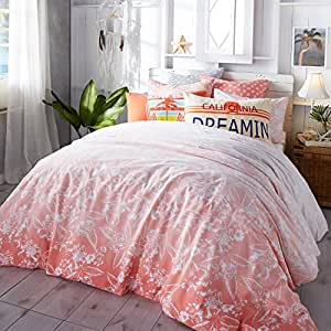 Hang Ten Ombre Hibiscus Reversible Cotton Duvet Cover Set, Coral, Twin