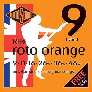 Rotosound RH9 - Juego de cuerdas para guitarra eléctrica de níquel, 11 16 26 36 46: Amazon.es: Instrumentos musicales
