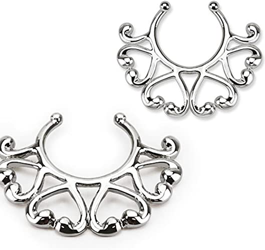 Nipple Rings non pierce pair Non-Piercing Clip On Nipple Ring //Hearts Design ...