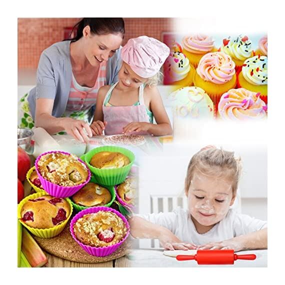 Kids Baking Set Real Cupcake Baking Supplies Silicone Cake Decorating Kit,Perfect for Girls Teens Toddlers Beginners Teenagers 7 SAFE AND EASY TO CLEAN:A Christmas gift hit,fun kids baking kits!Made of high quality food grade silicone material that design to be non-stick and dishwasher safe.These bake set are real baking tools. Recyclable, third-party tested BPA free.cupcake kit safe for children ages 5 and older KIDS REAL COOKING BAKING STARTER SET: These value attractive price baking utensils set including cupcake baking set,baking decorating set,cookie cutters and chocolate molds set PERFECT SIZE AND GIFTS SET:Very cute and vibrant color set and size is perfect for kids starter bakers!Mini cupcake cups Perfect baking supplies for kids.Set is red gift box. gift set for girls and boys who is beginning to cook