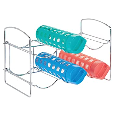 mDesign Metal Free-Standing Water Sports Bottle and Wine Rack Holder Stand for Storage Organizing in Kitchen Cabinet Countertops, Pantry - Collapsible - 2 Tiers, Holds 6 Bottles - Chrome