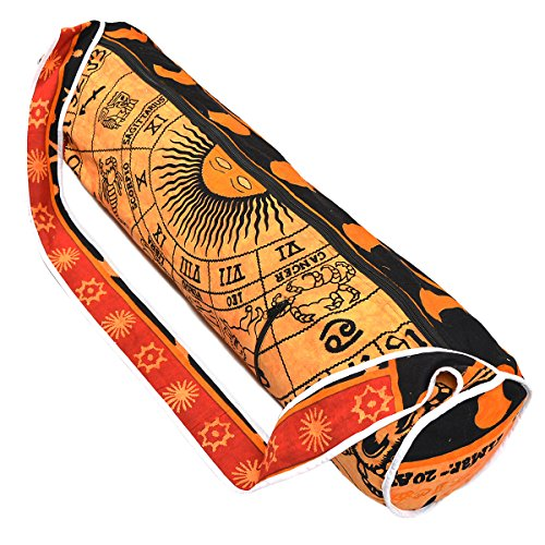Handmade Mandala Cotton Yoga Mat Bag with Shoulder Strap (Black Yellow)