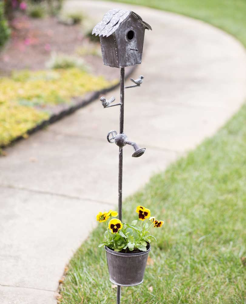 CTW Distressed Metal Birdhouse Garden Stake with Planter