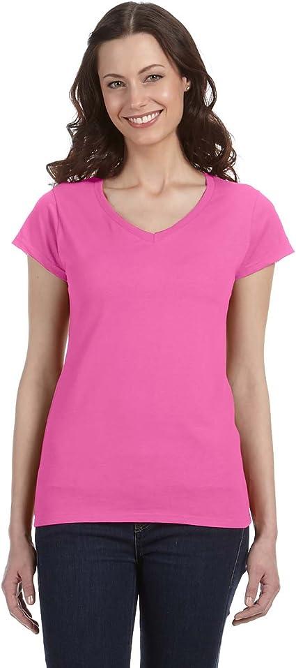 Ladies Short Sleeve Cotton Top Gildan Softstyle Women/'s V-Neck T-Shirt 64V00L