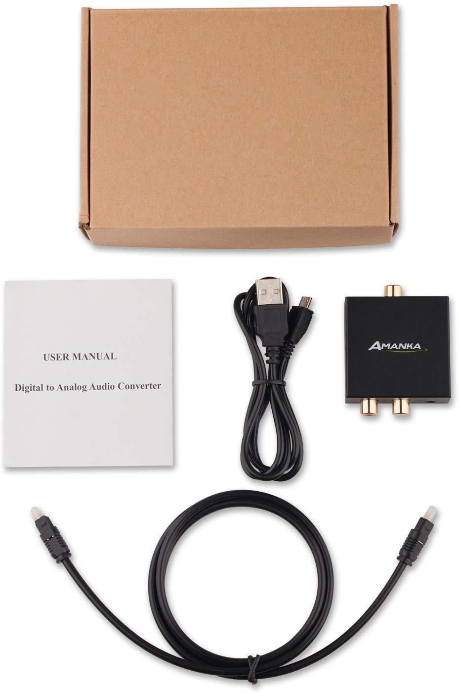 Headphone Outputs Fiber Cable Included Audio Converter AMANKA ...