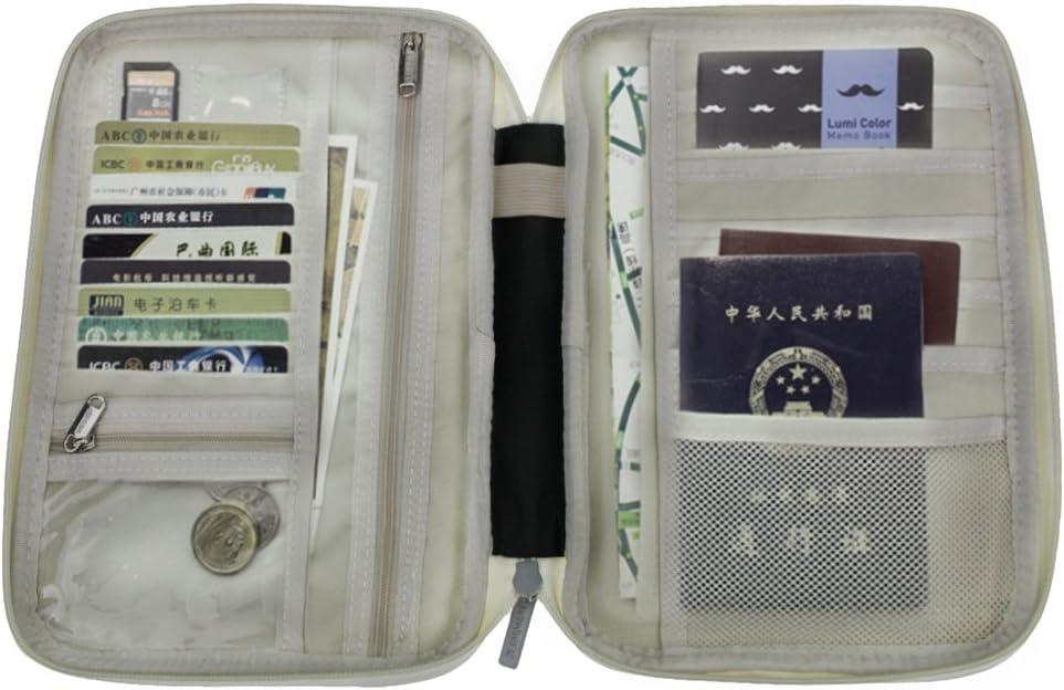 BXT Multifunktionale Reisepasstasche Dokumententasche Reiseorganizer Reisebrieftasche Handtasche mit Rei/ßverschluss f/ür Damen und Herren 12CM 22 Grau