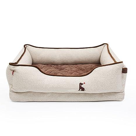 Xi Man Shop Cuatro Estaciones Disponibles Verano Cómodo Desmontable Cama de Perro Gris marrón (Size