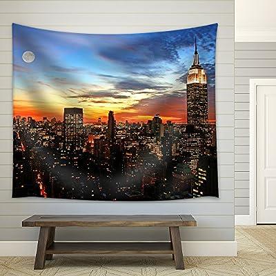 Pretty Visual, New York City Midtown Skyline at Dark Fabric Wall, it is good