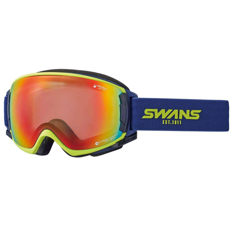 SWANS(スワンズ) スキー スノーボード ゴーグル くもり止め プレミアムアンチフォグ搭載 撥水加工 ROVO ライム/シャドーミラー×偏光グレイレンズ