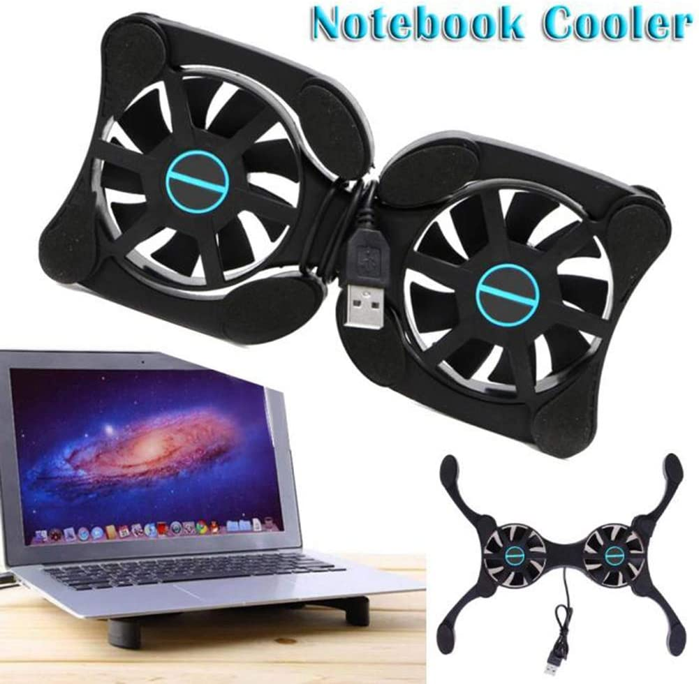 Mini Laptop Cooler,Foldable USB Laptop Cooling Pad with Dual Fans Designed for Gamers and Offices with Strong Wind